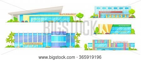 Supermarket And Store Buildings Vector Icons. Modern Store And Mall Exterior Design, Shopping Mall F