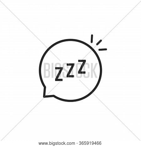 Linear Speech Bubble Like Zzz Logo. Concept Of Funny Snoring Sign For Web And Napping Icon. Flat Str