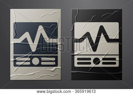 White Electrical Measuring Instruments Icon Isolated On Crumpled Paper Background. Analog Devices. E