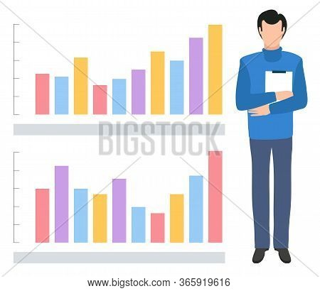 Man Reporting On Projects Stats And Analytics Vector, Flat Style Character Holding Paper Document In