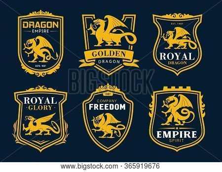 Griffin And Dragon Isolated Heraldic Vector Icons. Yellow Shields With Armorial Mythical Animal Silh