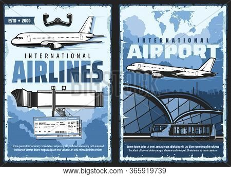 Air Flight Service And International Airport Retro Posters. Vector Vintage Cards With Airplane, Jetw