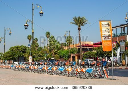 Marrakesh, Morocco - 12 October, 2019: Bike Rental In Marrakesh. Urban Transport In Morocco. Active