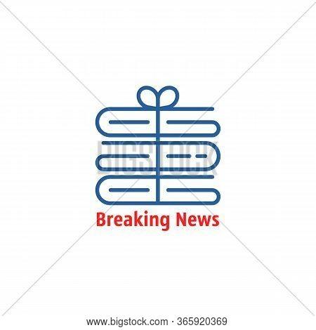 Breaking News Thin Line Logo. Stroke Flat Lineart Trend Modern Newsprint Logotype Graphic Art Design