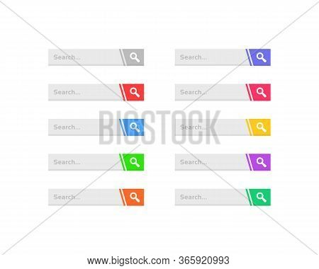 Set Of Search Bar For Web. Cartoon Flat Simple Style Trend Modern Graphic Art Url Address Design Ele