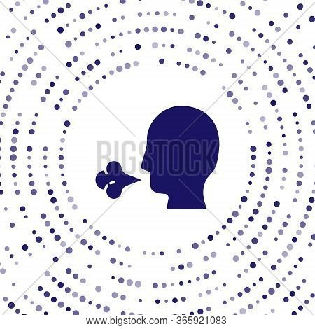Blue Man Coughing Icon Isolated On White Background. Viral Infection, Influenza, Flu, Cold Symptom.
