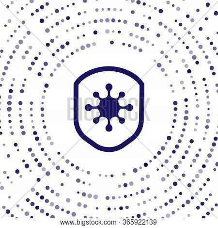 Blue Shield Protecting From Virus, Germs And Bacteria Icon Isolated On White Background. Immune Syst