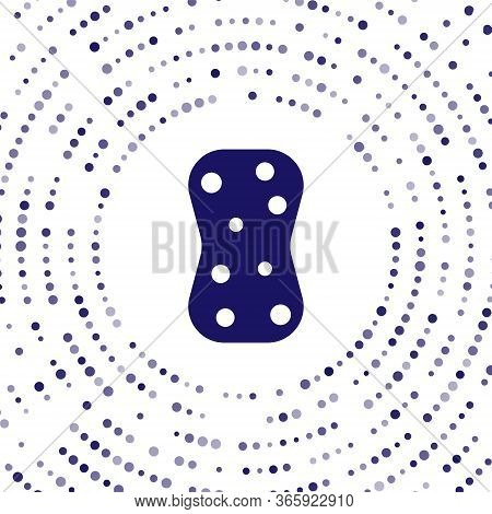 Blue Sponge With Bubbles Icon Isolated On White Background. Wisp Of Bast For Washing Dishes. Cleanin