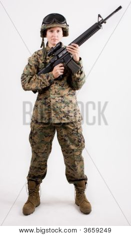 Army Girl With Gun