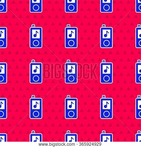 Blue Music Player Icon Isolated Seamless Pattern On Red Background. Portable Music Device. Vector