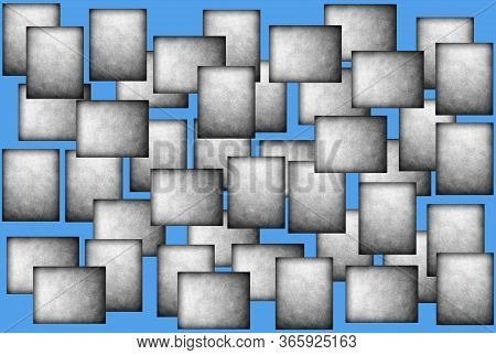 Gray Rectangles On A Blue Background. Abstract Background.