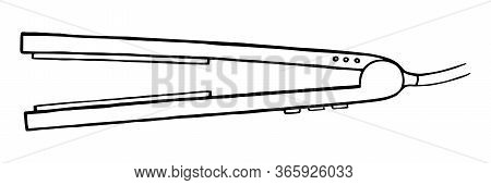 Drawn Iron For Straightening Hair Doodle On A White Background In Vector