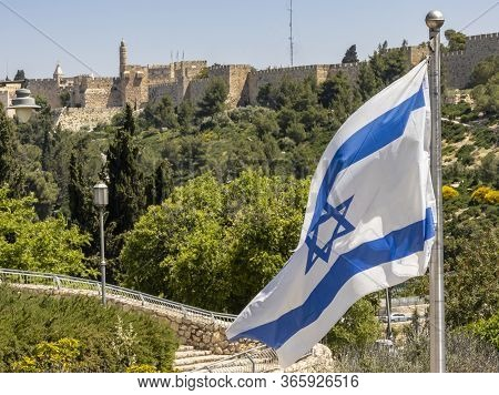 Jerusalem, Israel - May 5th, 2020: The Old City Of Jerusalem's Walls With The Tower Of David. In The