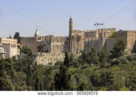 Jerusalem, Israel - May 5th, 2020: The Old City Of Jerusalem's Walls With The Tower Of David And The