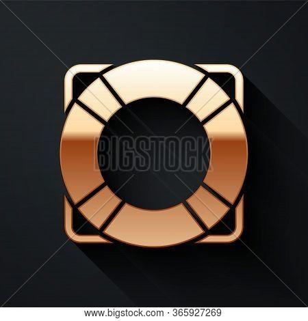 Gold Lifebuoy Icon Isolated On Black Background. Lifebelt Symbol. Long Shadow Style. Vector