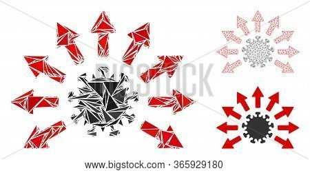 Triangle Mosaic Virus Distribution Icon With Mesh Vector Model. Virus Distribution Mosaic Icon Of Tr