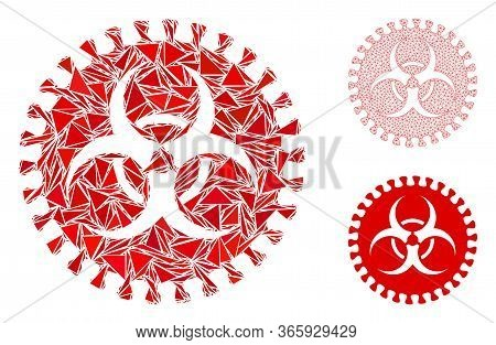 Triangle Mosaic Virus Hazard Icon With Mesh Vector Model. Virus Hazard Mosaic Icon Of Triangle Items