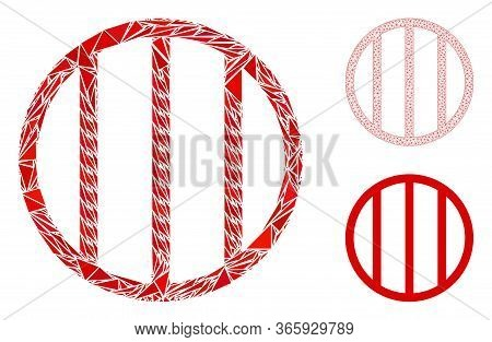 Triangle Mosaic Jail Grid Icon With Mesh Vector Model. Jail Grid Mosaic Icon Of Triangle Elements Wh
