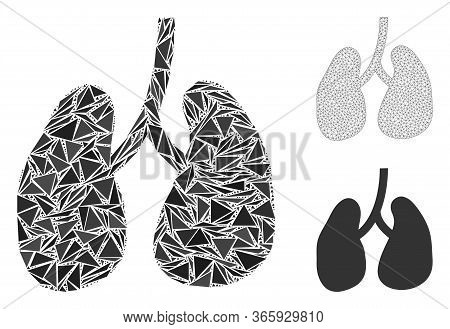 Triangle Mosaic Lungs Icon With Mesh Vector Model. Lungs Mosaic Icon Of Triangle Items Which Have Va