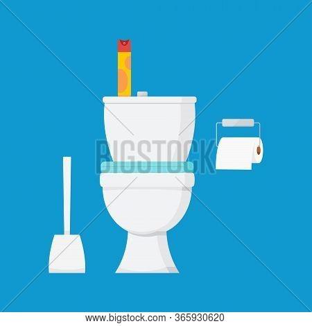 Ceramic White Toilet Bowl With Air Freshener, Toilet Paper And Toilet Brush Interior Scene. Modern T