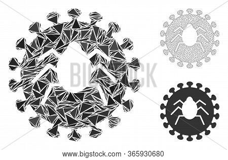 Triangle Mosaic Bug Virus Icon With Mesh Vector Model. Bug Virus Mosaic Icon Of Triangle Elements Wh