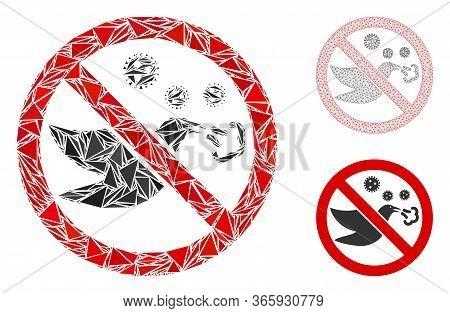 Triangle Mosaic Forbidden Bird Flu Icon With Mesh Vector Model. Forbidden Bird Flu Mosaic Icon Of Tr