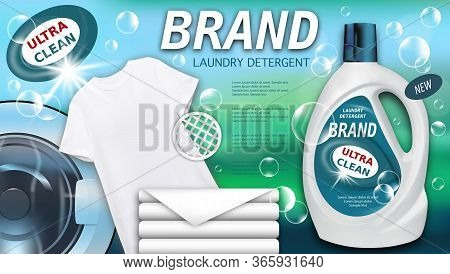 Laundry Detergent In Plastic Container, Clean Towels And White T-shirt. Package Design For Liquid De
