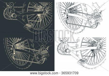 Mountain Bike Close-up Drawings
