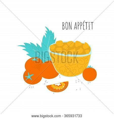 Bon Appetit Poster Template With Chickpeas On Plate, Tomato, Leaf Composition. Vector Gram In Scandi