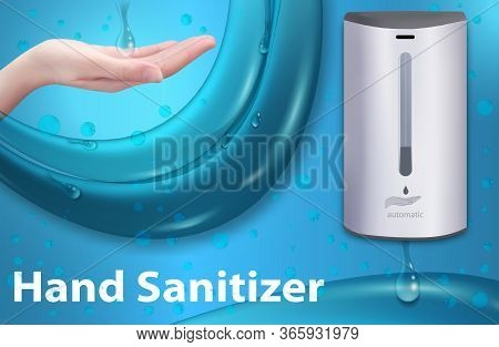 Wall Automatic Sanitizer Dispenser For Hand. Rubbing Alcohol Based. Wall Mounted Soap Or Antiseptic