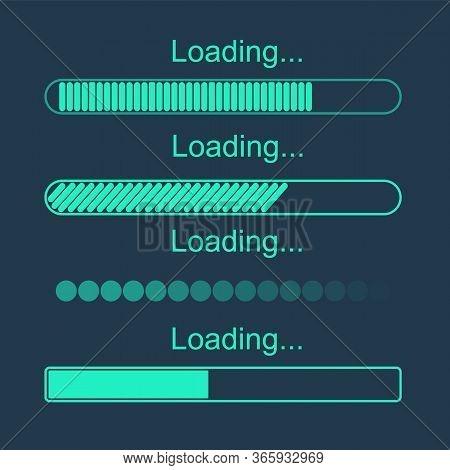 Futuristic Progress Loading Bar. Set Of Indicators. Download Progress, Web Design Template, Interfac