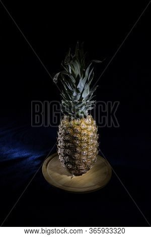 Pineapple fruit on a black background.Silhouette style