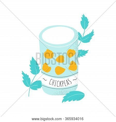 Isolated Chick Peas In Can. Protein Beans For Soup, Salat, Hummus, Tofu. Healthy Arabic Food. Vector