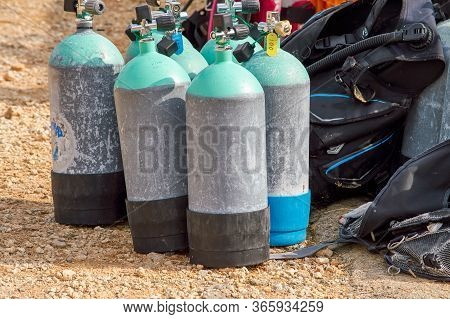 Diving Cylinders Used To Store And Transport The High Pressure Breathing Gas Required For Scuba Divi