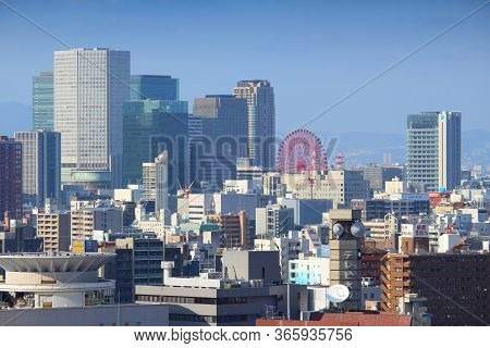 Osaka, Japan - November 22, 2016: Urban Skyline Of Umeda, Osaka City, Japan. Osaka Belongs To 2nd La