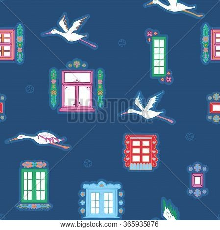 Vector Beautiful Colorful Hand Drawn Folklore Windows With Flying Storks Seamless Pattern Background