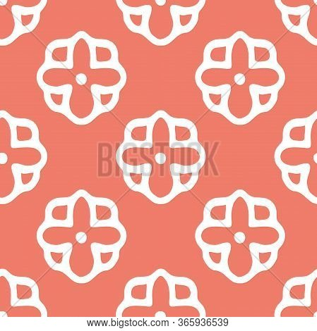 Vector Hand Drawn Folklore Daisies Lineart Seamless Pattern Background. Perfect For Fabric, Scrapboo