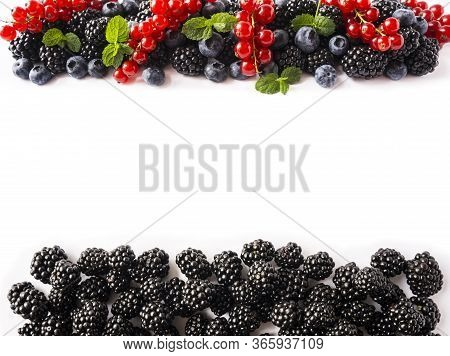 Mix Fruits Berries. Ripe Red Currant, Blueberry, Black Berry. Berry With Copy Space For Text. Backgr