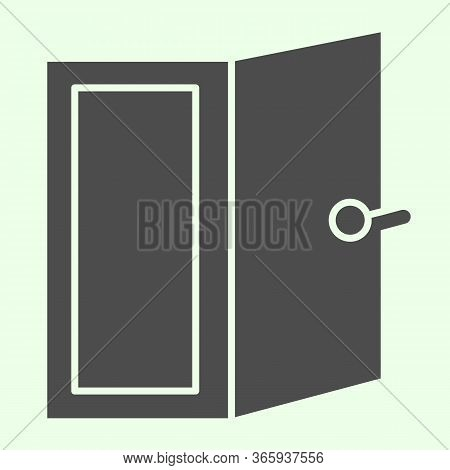 Door Solid Icon. Open Home Doorway Exit Or Entrance Glyph Style Pictogram On White Background. Apart