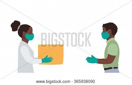 Delivery Black Woman Side View, Uniform Face Medical Mask Gloves Hold Empty Cardboard Box. Service C