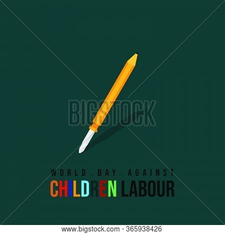 World Day Against Children Labour Vector Illustration With Screwdriver And Pencil. Good Template For
