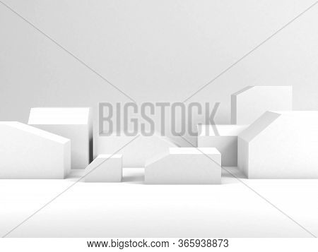 Minimal Still Life Installation, White Boxes With Beveled Edges As Empty Places For A Product Repres