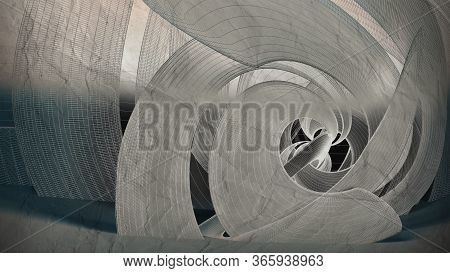 Abstract Blueprint, Cgi Background With Wire Frame Spiral Installation On An Old Paper, 3d Rendering