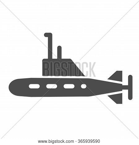 Submarine Solid Icon, Warship Transport Symbol, Underwater Boat Vector Sign On White Background, Sub