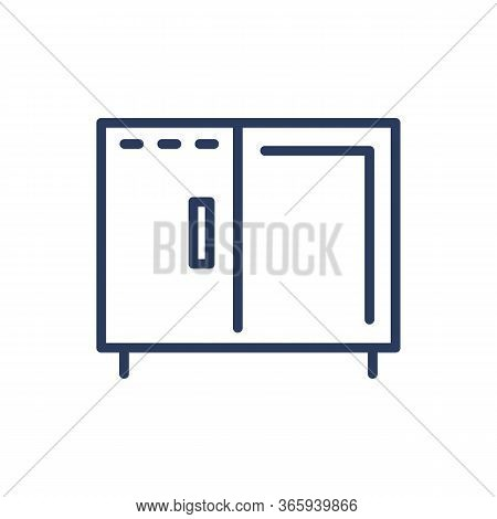Server Rack Thin Line Icon. Storage, Connection Cabinet, Datacenter, Isolated Outline Sign. Digital
