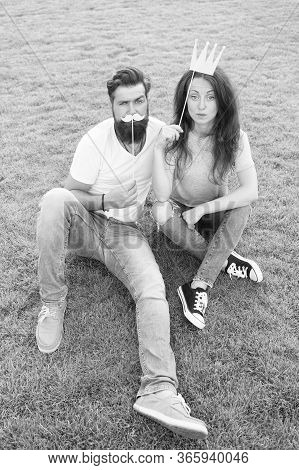Happy Couple In Love. Summer Vacation. Brutal Bearded Man With Smiling Girl. Woman And Male Hipster