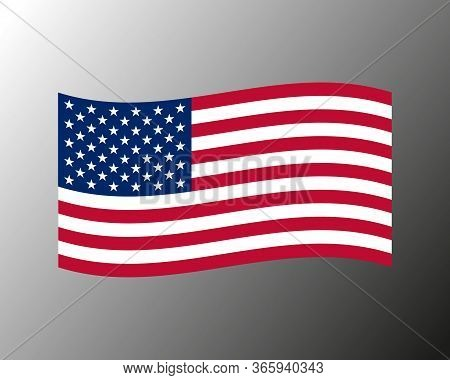 Vector Illustration Of Waving American Flag On Gray Background. United States Flag.