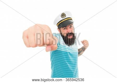 Attack. Punch In Face. Sailor Spirit. Bearded Sailor Isolated On White. Navy And Marine. Sea Adventu