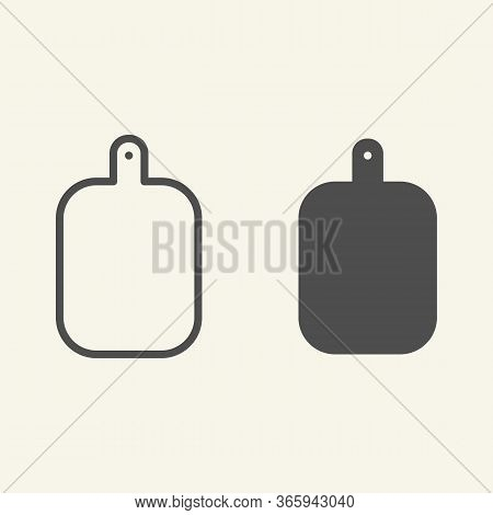 Cutting Board Line And Solid Icon. Wooden Chopping Board Symbol, Outline Style Pictogram On Beige Ba