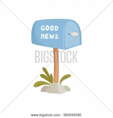 House Blue Mailbox With Good News Concept Background. Cartoon Illustration Of House Blue Mailbox Wit